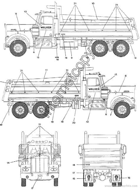 Wiring Diagram Kenworth T600 Interior by 1994 Kenworth Dump Heavy Truck Blueprints Free Outlines