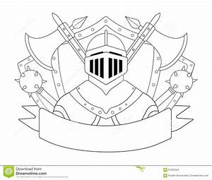 Medieval Templar Knight Armor Set. Contour Stock Vector ...