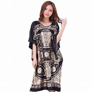 novelty print black female satin robe dress nightgown With dress robes