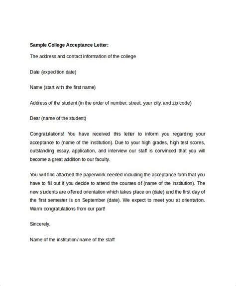 college acceptance letter sample college acceptance