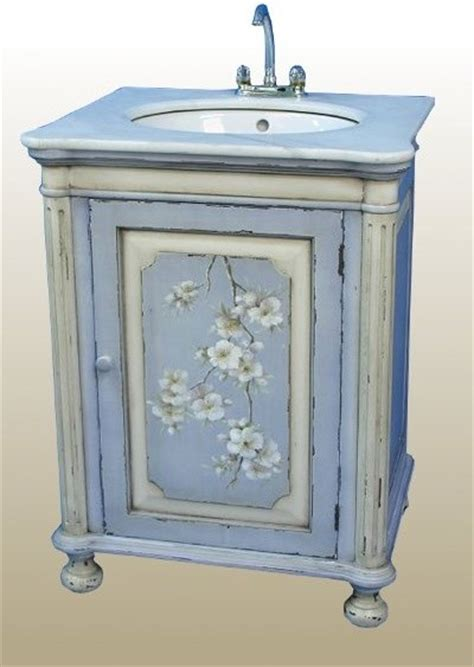 blue hand painted sink unit traditional bathroom