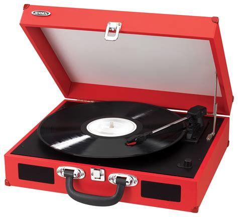 Best Buy: JENSEN Portable 3-Speed Stereo Turntable Red JTA ...