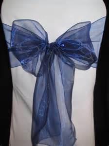 100 navy blue organza wedding banquet chair sashes bows