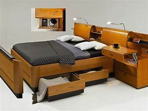 Lit Avec Chevet Integre Maison Design
