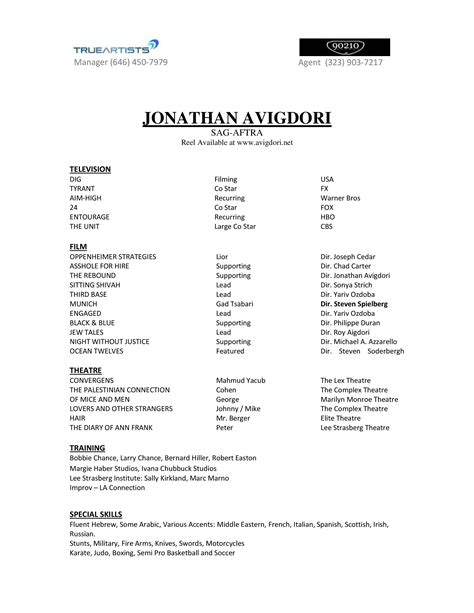 List Of Things To Put On A Resume by How To Create A Professional Acting Resume Acting Career
