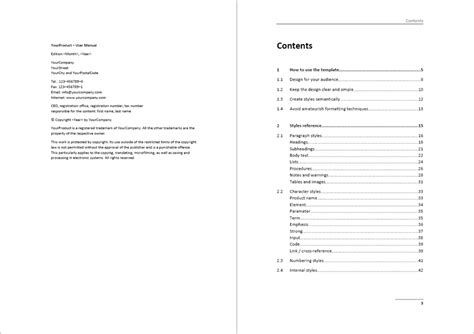 template  user manuals sample pages examples