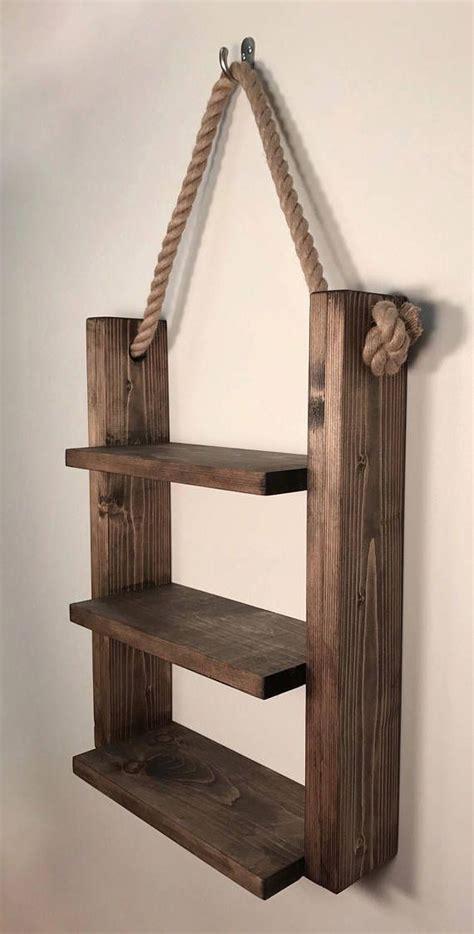 rustic ladder shelf rustic wood  rope ladder shelf