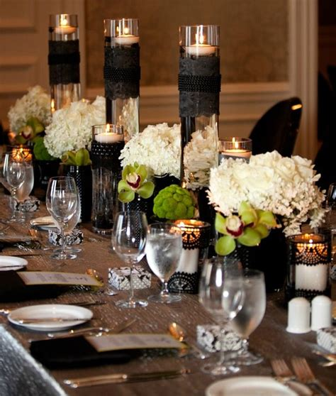 black and white table arrangements beautiful black and white centerpieces black lace white