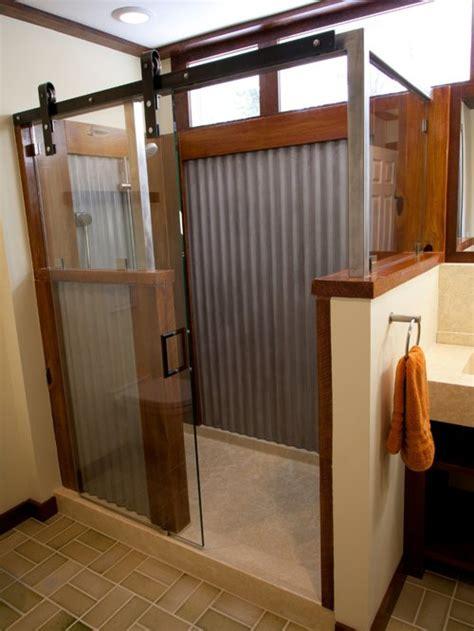 corrugated metal outdoor shower bath design ideas