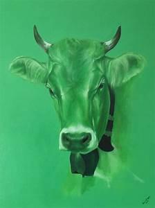 Kuh Bilder Auf Leinwand : bild kuh oel auf leinwand gr n malerei von dali24 bei ~ Whattoseeinmadrid.com Haus und Dekorationen
