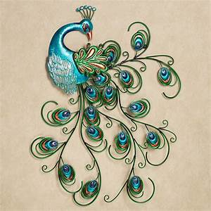 Pretty peacock indoor outdoor metal wall art for Peacock wall decor