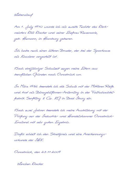 Schriftlicher Lebenslauf by Pr 228 Mie Ausf 252 Hrlicher Lebenslauf Bundeswehr Muster