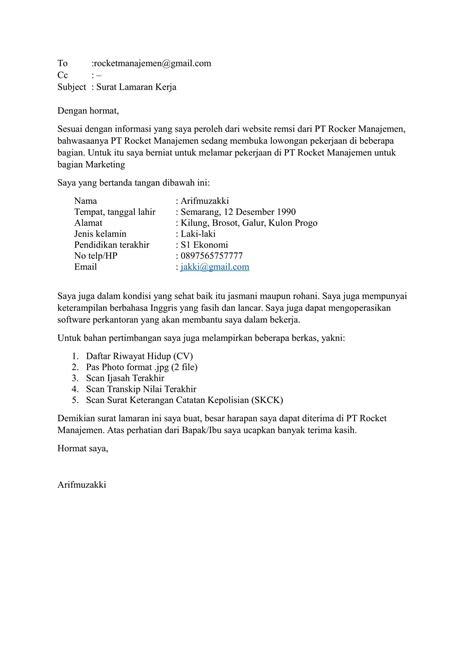 contoh surat lamaran kerja via email yang sopan