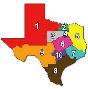 4 Regions of Texas Map