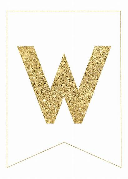 Banner Letter Printable Letters Gold Shower Alphabet