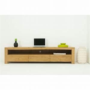 Meuble Tv 170 Cm : meuble tv bas contemporain 170 cm alisa en teck massif ~ Teatrodelosmanantiales.com Idées de Décoration