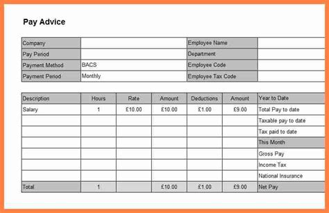 salary payslip template excel salary slip