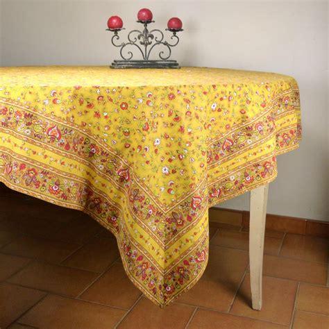 nappe cuisine nappe carrée provençale jaune motif chêtre nappe 100