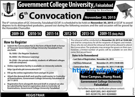 gcuf 6th convocation how to register last date 20 11 2015 apply now govt in