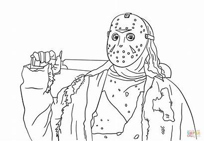 Jason Coloring Pages Voorhees 13th Friday Myers