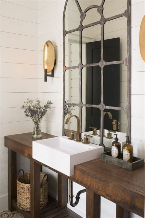 beautiful rustic industrial bathroom design that mirror