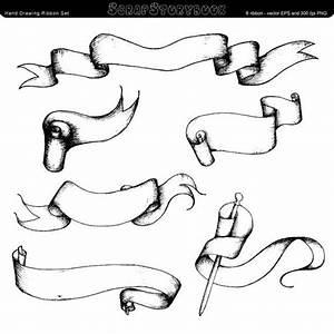 Hand Drawing Ribbon Set - digital printable clipart ...