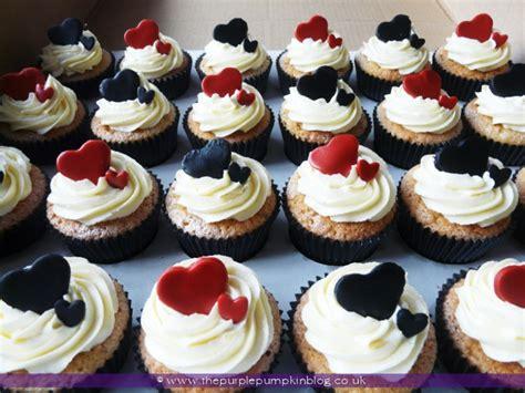 black red white heart wedding cupcakes  purple