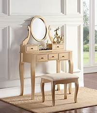 makeup vanity furniture Roundhill Furniture Ashley Wood Make-Up Vanity Table and ...