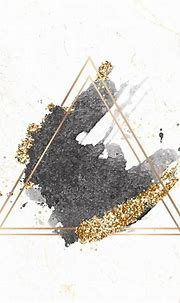 Gold triangle frame on black watercolor background vector ...