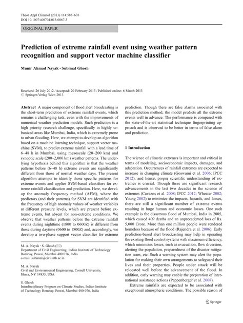 (PDF) Prediction of extreme rainfall event using weather