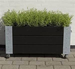 Jardiniere Sur Roulette : cubic jardini re design rectangulair sur roulettes 87x50x45cm bois noir gris vert ~ Farleysfitness.com Idées de Décoration