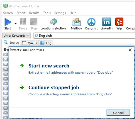 stop and resume search atompark software