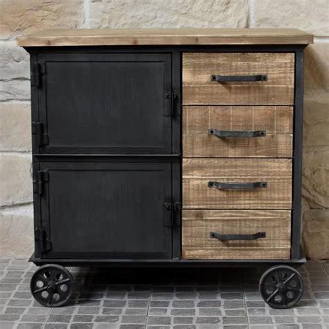 meuble industriel cagne en bois et fer bahut enfilade commode 224 roulettes placards tiroirs
