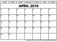 April 2019 Calendar PDF yearly printable calendar