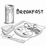 Breakfast Sketch Omelette Omelet Graphic Bread Grafik Weiss Schwarz Grafica Illustrazione Schizzo Nero Arte Fruhstuck Clipart Cafe Vettore Bianco Cibo sketch template