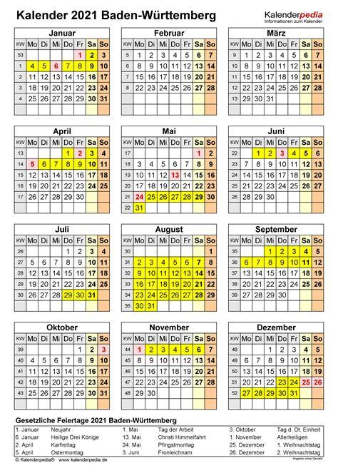Abschlussjahrgänge werden bis einschließlich 22.12.2020 verpflichtend im fernunterricht unterrichtet. Kalender 2021 Baden-Württemberg: Ferien, Feiertage, Excel ...