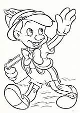 Disney Coloring Characters Printable Pages Walt Pinocchio sketch template