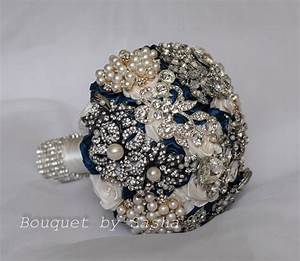 Ivory And Navy Blue Wedding Brooch Bouquet Silver Wedding
