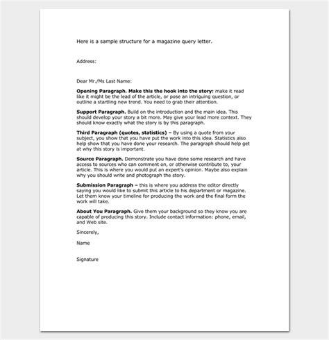 exles of query letters query letter template 7 formats sles exles 4944