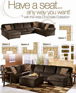 Vista chocolate casual 3 piece sectional with right for Vista chaise sectional sofa