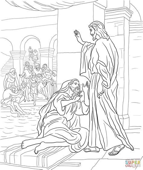 Kleurplaat De Blindgeborene by Jesus Heals The At The Pool Of Bethesda Coloring Page