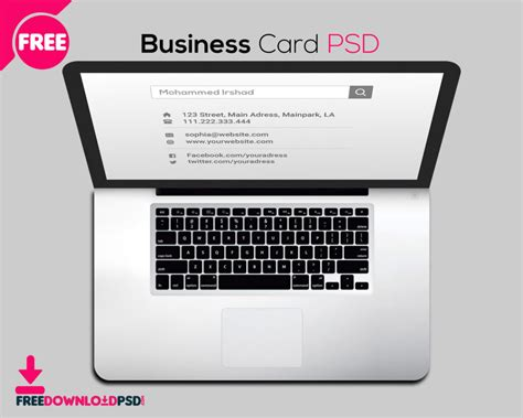 Free Laptop Business Card Psd Graphic Designer Business Cards Free Mockup Psd One Page Card Website Visiting Yangon Download Template For Home Printing Watermark In Golden