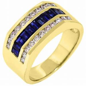 mens 14kt yellow gold blue sapphire diamond ring wedding With mens blue sapphire wedding rings