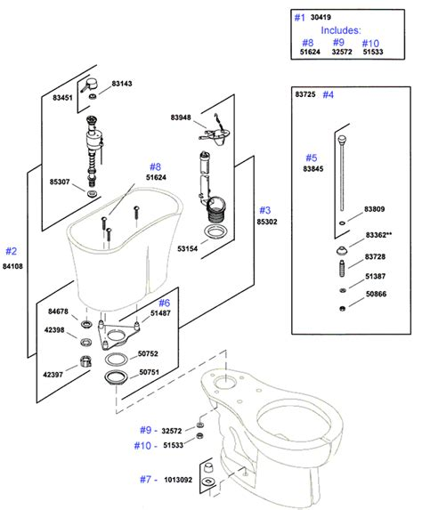 Kohler Fleur Toilet Replacement Parts  Jacob Delafon