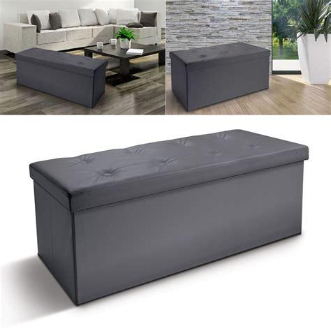 banc coffre rangement pliable gris gm 100x38x38 cm meubles