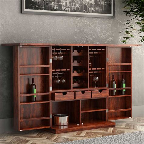 Bar Cabinets by Richmond Rustic Solid Wood Expandable Bar Cabinet With