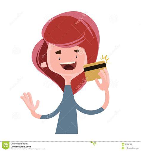 girl holding gold credit card illustration cartoon