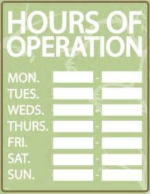 Business Hours of Operation Signs Template
