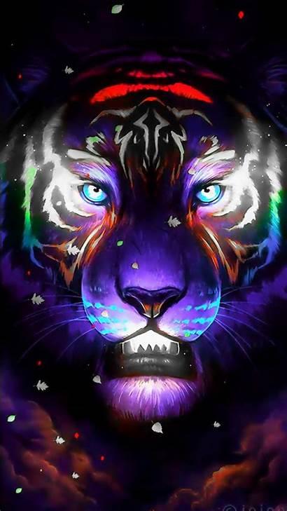 Soul Glow Tiger Neon Lights Lion Sky