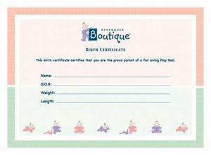 Baby doll birth certificate dress images for Doll birth certificate